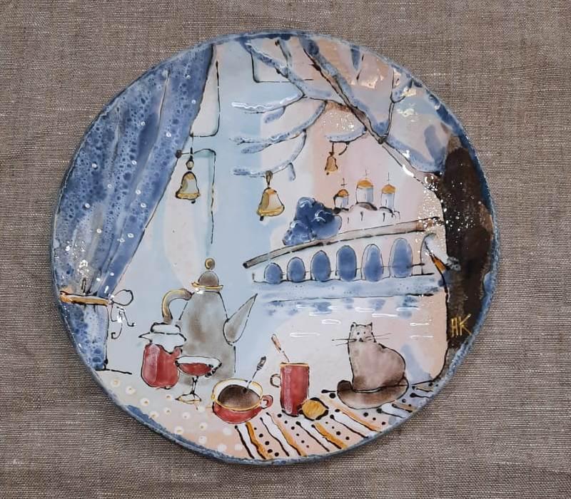 Сувенирная тарелка с видами Великого Новгорода